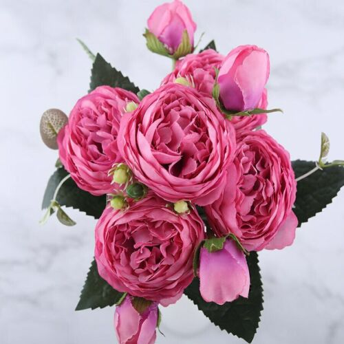 Rose Artificial Flowers Pink Silk Bouquet 5 Big Head and 4 Bud Fake Flowers