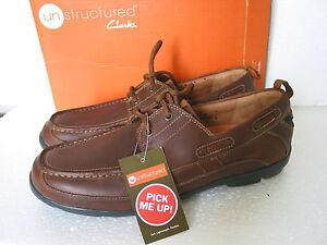 new mens clarks un structured un deck leather casual shoes