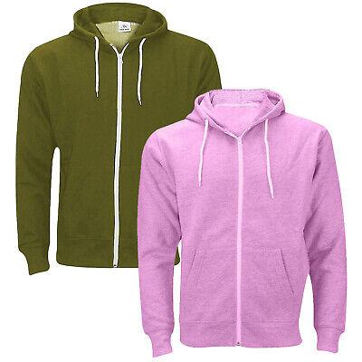Mens Fleece Plain Hoodie Sweatshirt Hooded Zipper Top Jumper Big Sizes S To 6XL
