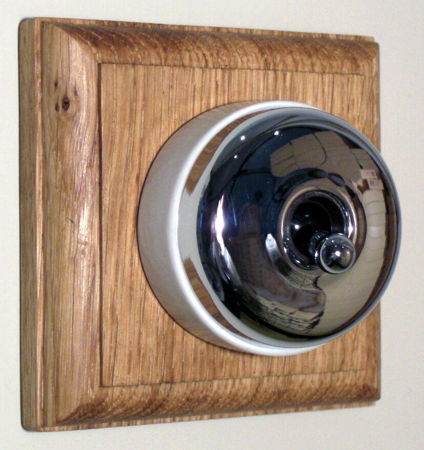 Period Single Oak Pattress with Plain Chrome Ivory Ceramic Dolly Light Switch