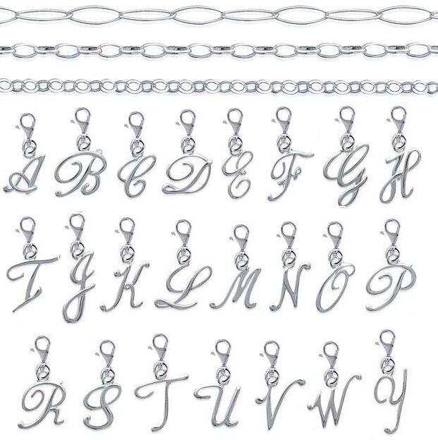 BRACELET + Pendentif CHARM Lettre Initiale en ARGENT 925°°  NEUF au CHOIX