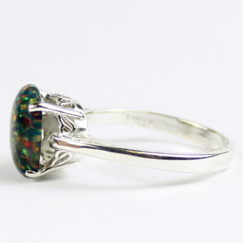 Created Black Opal SR055-Handmade 925 Sterling Silver Ladies Ring