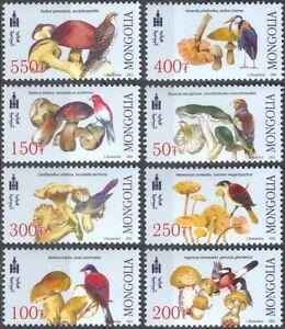 Mongolia-2003-Birds-Fungi-Mushrooms-Raptors-Nature-Wildlife-8v-set-n43221