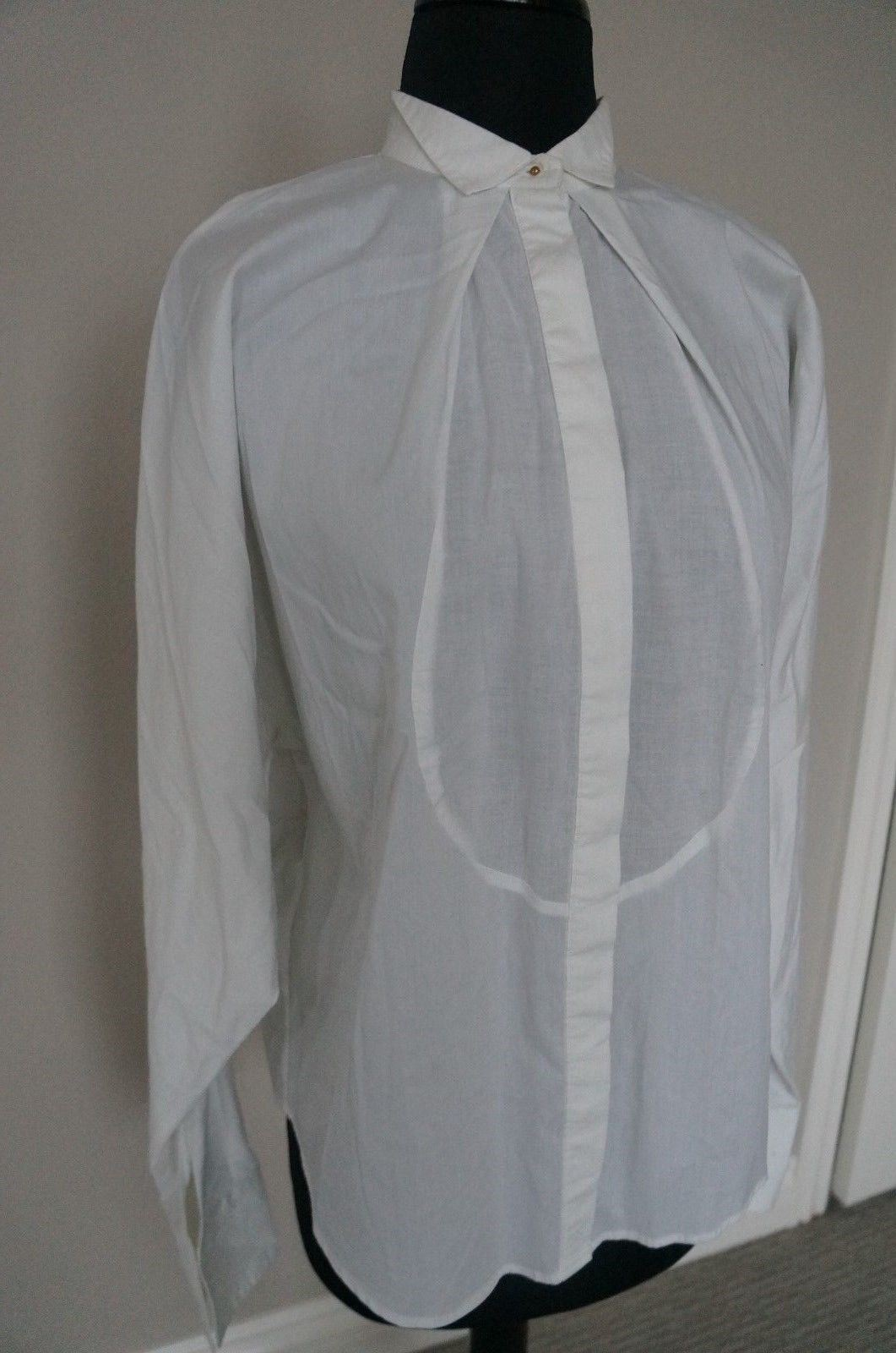 NEW Anthropologie Day Birger Mikkelsen White Button Down Blouse Dress Shirt S