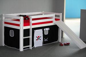 massivholz hochbett halbhoch bett wei oder buche rutsche gratis versand ebay. Black Bedroom Furniture Sets. Home Design Ideas