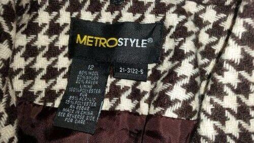 cane 12 tag di Metro Nuovo di segugio Denti donna Corto Cappotti Cappotto lana Style Taglia Nessun qqRU6P