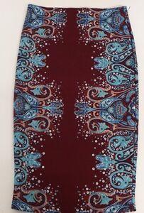 Rue21-Women-039-s-Small-Pencil-Multi-Pattern-Skirt-RN70829-Maroon-and-Blue