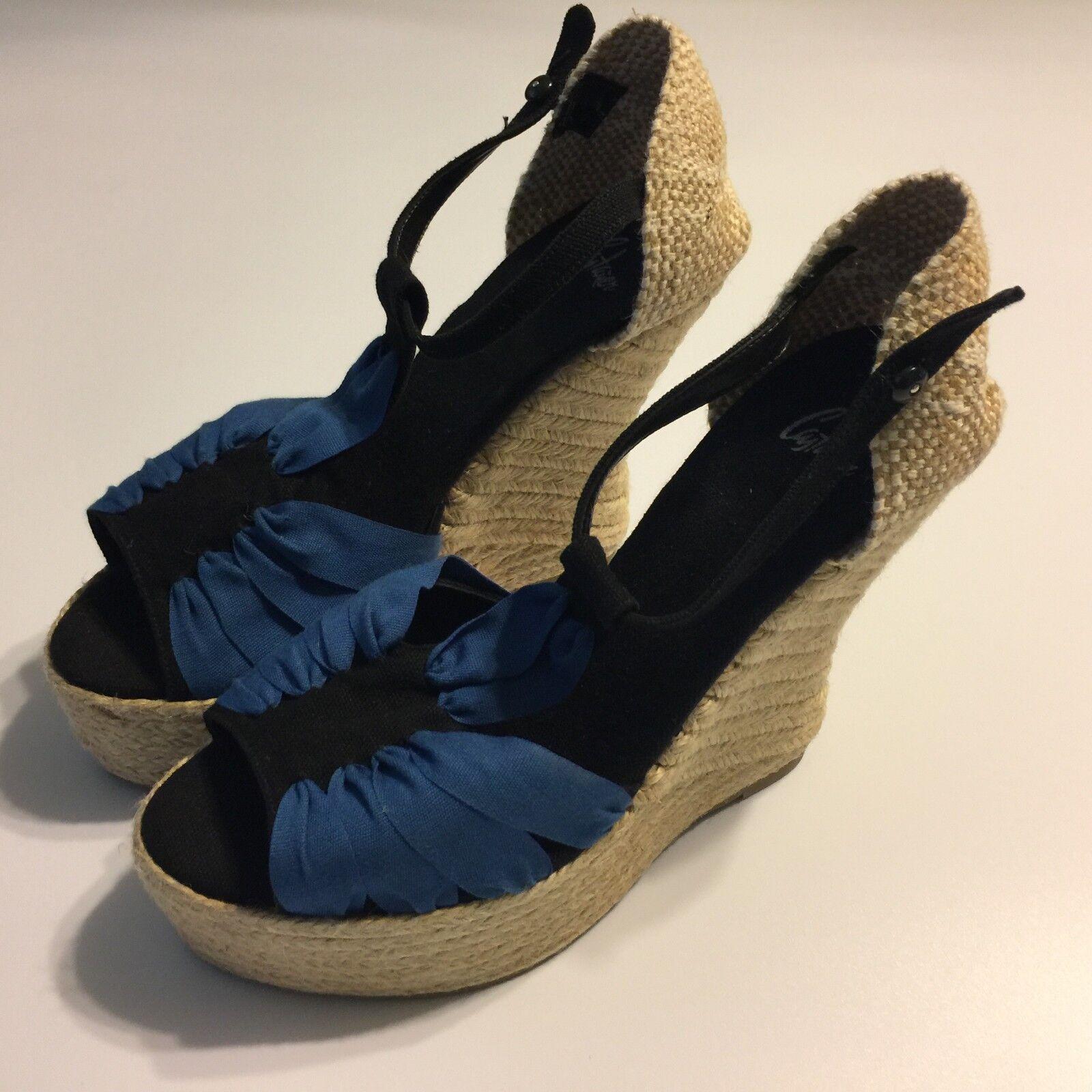 CASTANER Womens Open Toe WEDGE 5.5  Heel bluee Canvas Size 40 Spain 9 10