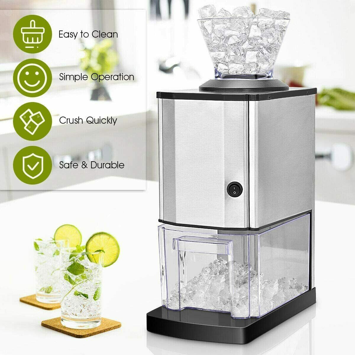 Electric Stainless Steel Ice Crusher Snow Cone Shaver Maker