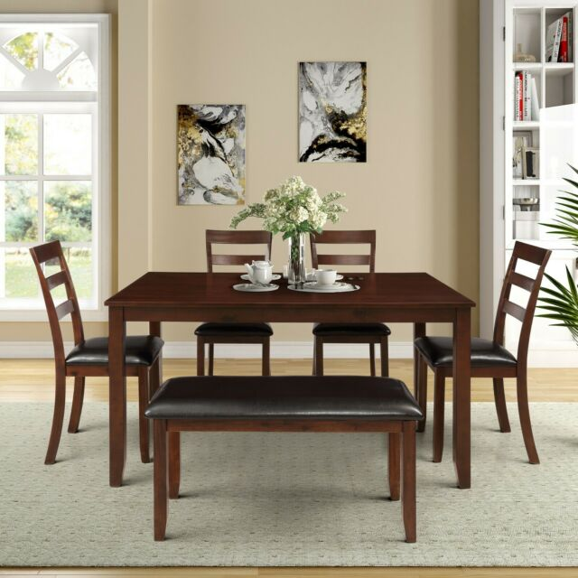 Dinning Table With 4 High Back Chairs Bench For 6 Solid Wood PU Leather  Padded