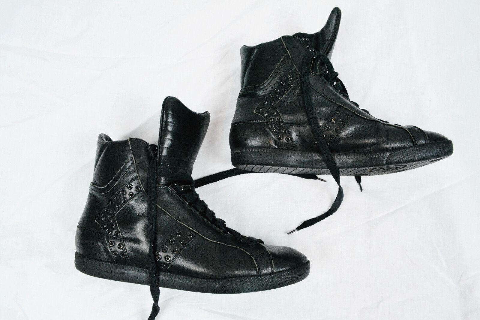 DIOR HOMME STRIP Hi-top Black Leather Stud Sneakers shoes Hedi Slimane 43.5 10