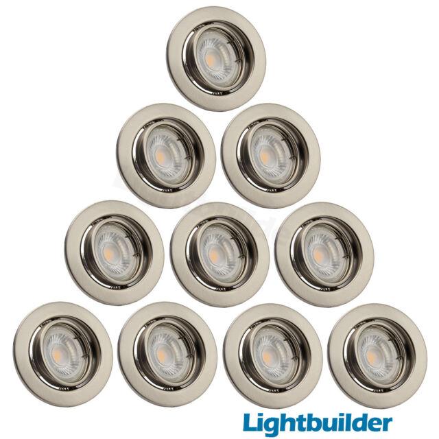 10x LED GU10 Recessed Ceiling Downlight Tilt Fitting Mains 240V Brushed Chrome