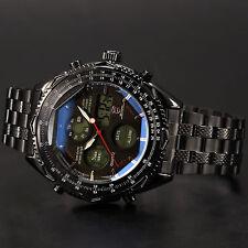 SHARK Mens Luxury Date LCD Digital Stainless Steel Quartz Sport Wrist Watch+Box