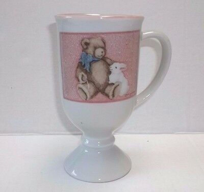 Otagiri Footed Coffee Mug Pedestal Tea Cup Bear w/ Hearts Heartprints Jameson