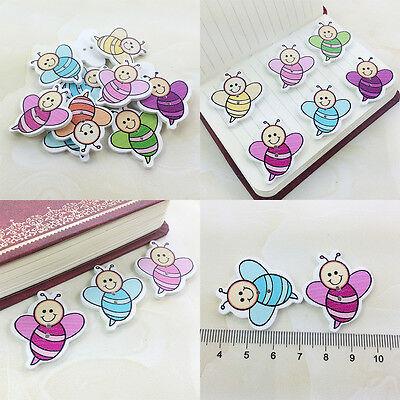 20/50/100 Bulk Cute Honeybee Wooden Sewing Buttons Scrapbooking 2Holes For Baby