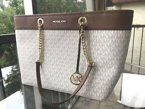 Michael-Kors-Women-Large-Leather-Shoulder-Tote-Purse-Bag-Handbag-Vanilla-Brown