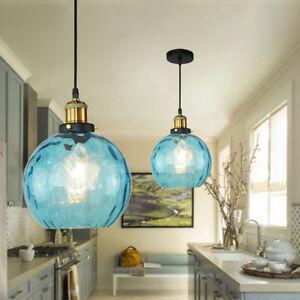 Details About Loft Blue Color Gl Ball Shade Pendant Lights Ceiling Fixtures Hanging Lamp