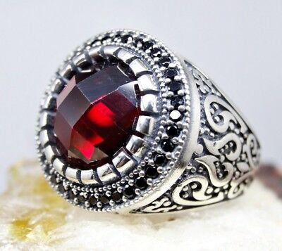 Details about  /Turkish Handmade 925 Sterling Silver Multi Ruby Stone Red Mens Ring All Size