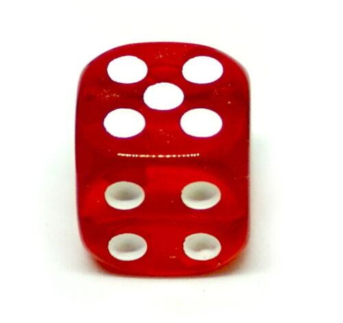 10 Transparent Rote Würfel 16mm mit weißen Punkten 6Seitig// W6// D6// Spielewürf