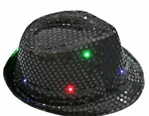 Flashing Light Up Led Fedora Trilby Sequin Unisex Fancy Dress Dance Party Hat