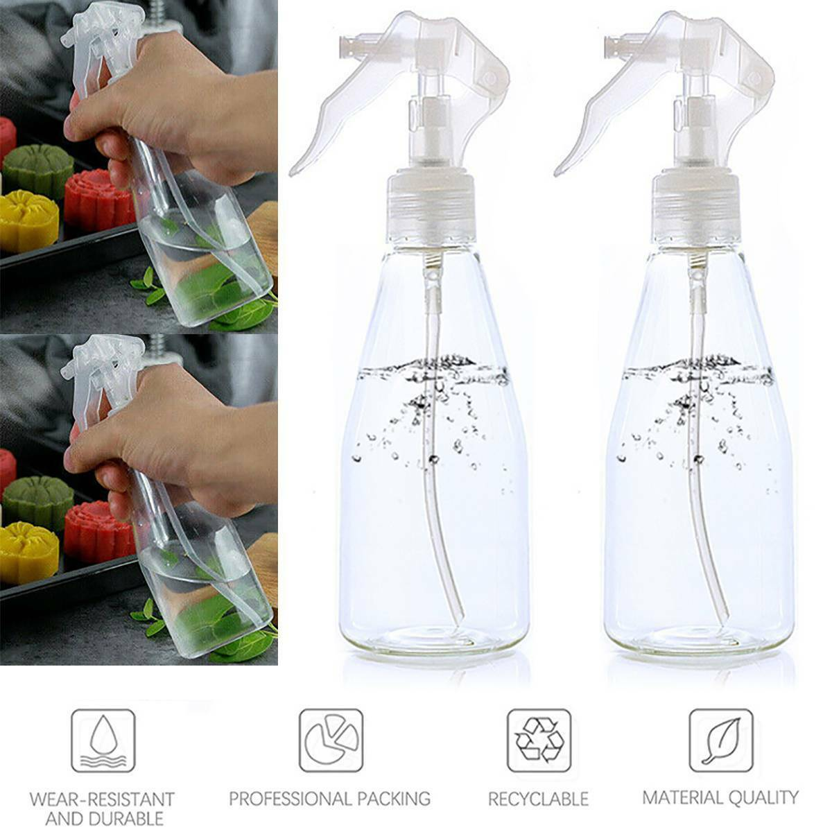 200ml Plastic Clear Spray Trigger Cleaning Water Garden Empty Washing Bottles