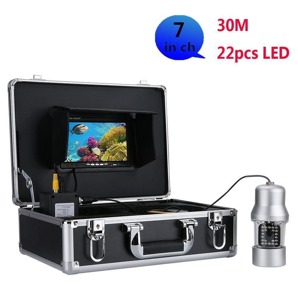 Buscador de los pescados 7 pulgadas de pantalla Color 3.6mm 30m cámara de vídeo de pesca submarina LED