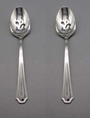 Oneida Silverplate Flatware CLAIRHILL Slotted Serving Spoons CANADA SET OF TWO
