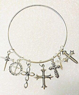 Bangle Charm Bracelet Crosses 7