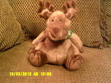 "HTF 9"" Bath Body Works Plush Brown MOOSE w/ Green Jingle Bell Scarf *"