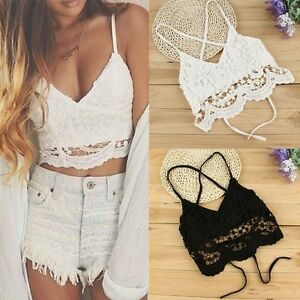380d725c5e2df4 Women Lace Floral Bralette Bralet Bra Bustier Crop Top Sleeveless ...