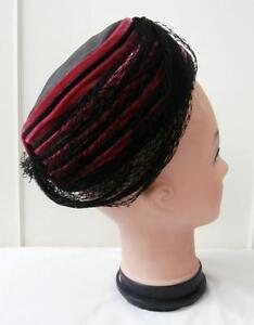 Vintage-1950s-Negro-y-Rosa-Terciopelo-Sombrero-Sombrero-De-Paja-Con-Adorno-De-Compensacion-velo