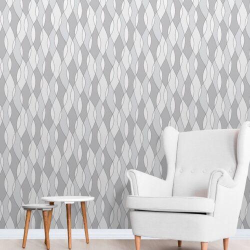 Geometric Wallpaper Metalic Silver Grey White Wave Modern Job Lot 5 Rolls