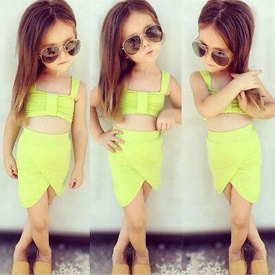 2015 Kids Girls Tops Skirt 2Pcs Summer Beach Dress Swimwear Outfits Set 2-7Y