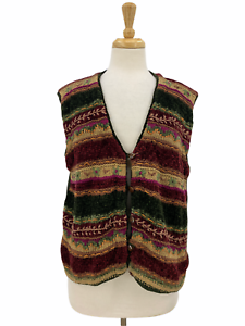 Vintage 90s Koret Abstract Multicolor Knit Button Cardigan Sweater Vest Sz XL