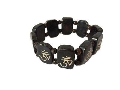 Handmade Dark Yak bone Om Bracelet from Nepal