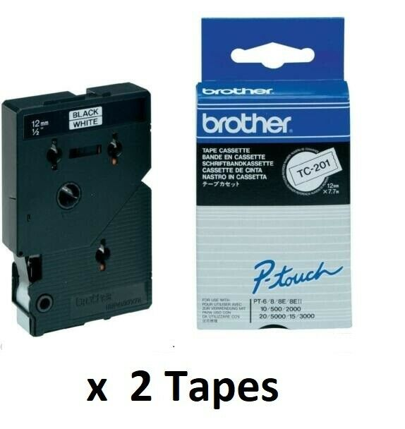 2 x  Brother P-touch TC-201 12mm x 7.7m Black on White Laminated Tape  67E004