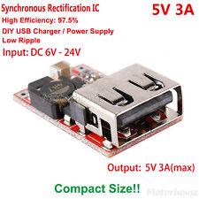 DC-DC Buck Module 6V-24V 12V to 5V 3A Converter USB Charger Power Supply Car DIY