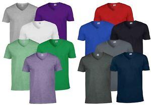 636072b7 Gildan Mens Men's Soft Style Plain V-Neck T-Shirt Cotton Tee Tshirt ...