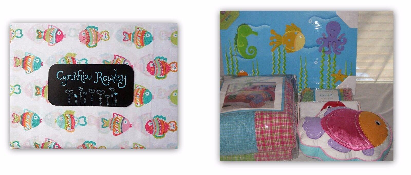 NEUF GO FISH Twin Quilt Sham Cynthia Rowley Feuille Set oreiller Cantonnière Wall Art 8PC