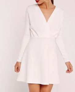 Image is loading MISSGUIDED-pleated-plunge-long-sleeve-skater-dress-white- d77e849dff1c