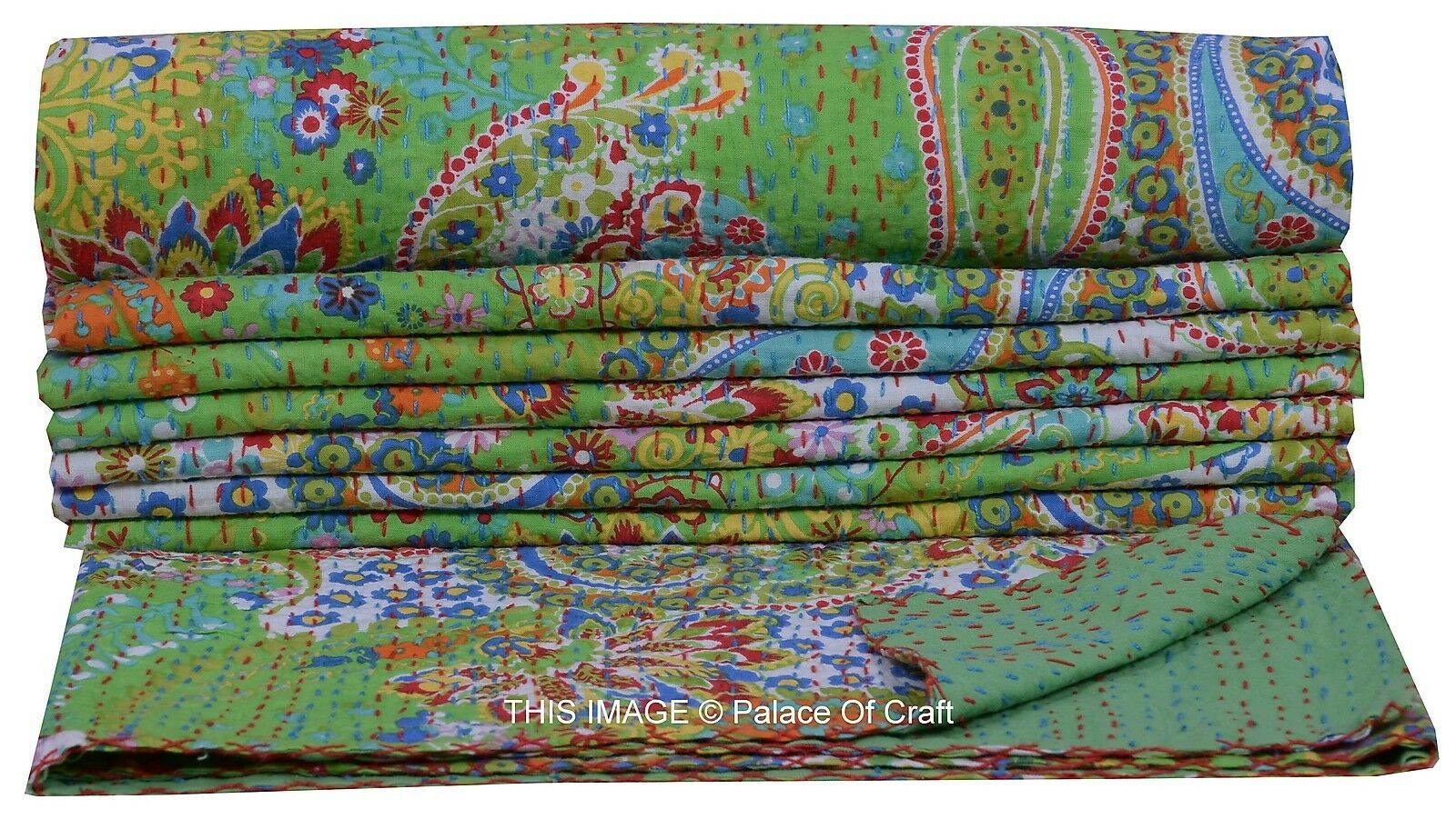Indian Kantha Work Print Quilt Bedding Bedspread Coverlet Paisley Green Gudari