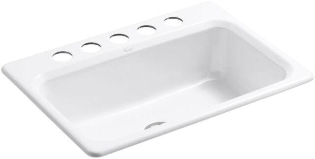 KOHLER Bakersfield Undermount Cast Iron 31 in 5-Hole Single Bowl Kitchen  Sink