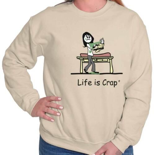 Life is Crap Funny Shirt Baby Barf Cool Funny Clothes Gift Crewneck Sweatshirt