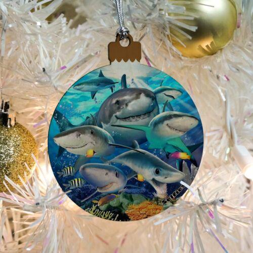 Shark Ocean Selfie Wood Christmas Tree Holiday Ornament