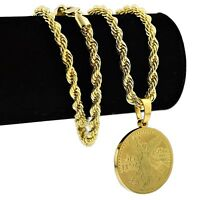 50 Peso Mexico Centenario Stainless Steel Coin Replica 24 Rope Chain Gold Plate