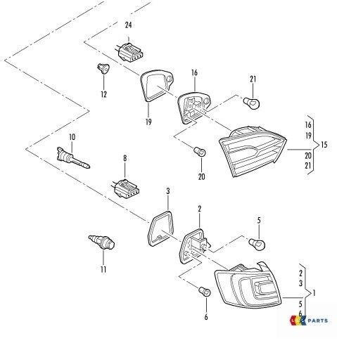 NEW GENUINE VW JETTA 11-14 OUTER TAIL LIGHT BULB CARRIER LEFT N//S 5C6945257