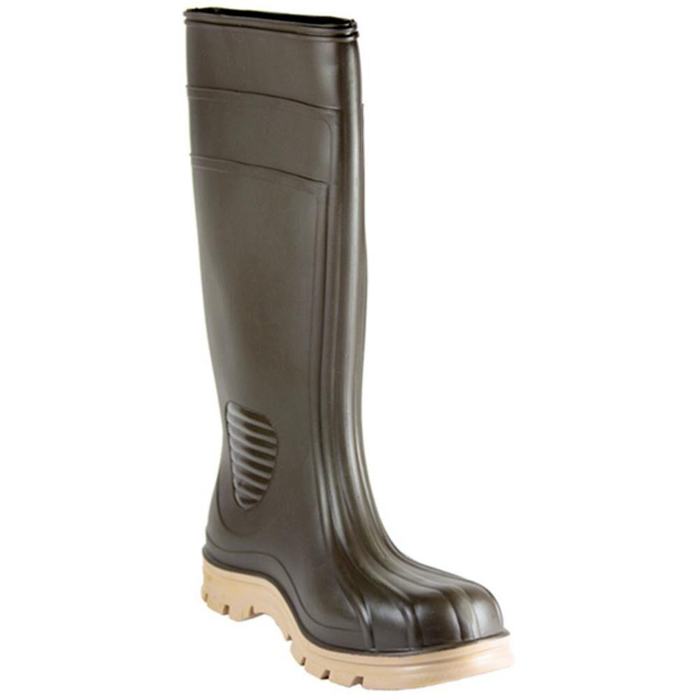Men's Barnyard Rubber Boot Size 11 Brown Heavy Duty Slip Resistant Waterproof