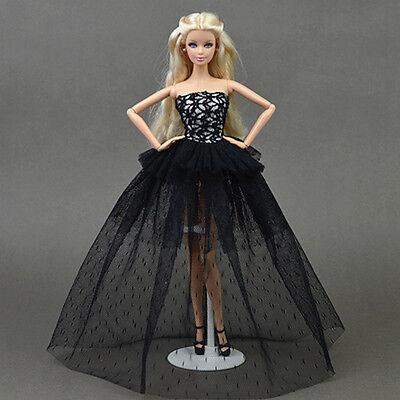 Doll dress ~ Mattel Model Barbie Black Lace Gown Long Dress/Shoes outfit #L-122