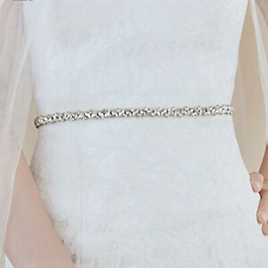 New Thin Crystal Chain Bridal Sash Wedding Belt for Bride Bridesmaid Party Dress