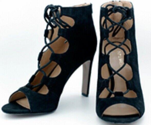 Nine West  Unforgettable  BLACK open lace-up suede bootie Sz 10M - Now  89